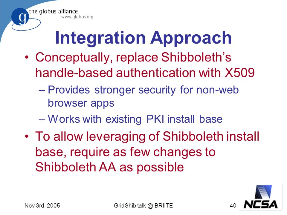 Nov 3rd, 200540GridShib talk @ BRIITE Integration Approach Conceptually, replace Shibboleths handle-based authentication with X509 –Provides stronger security for non-web browser apps –Works with existing PKI install base To allow leveraging of Shibboleth install base, require as few changes to Shibboleth AA as possible