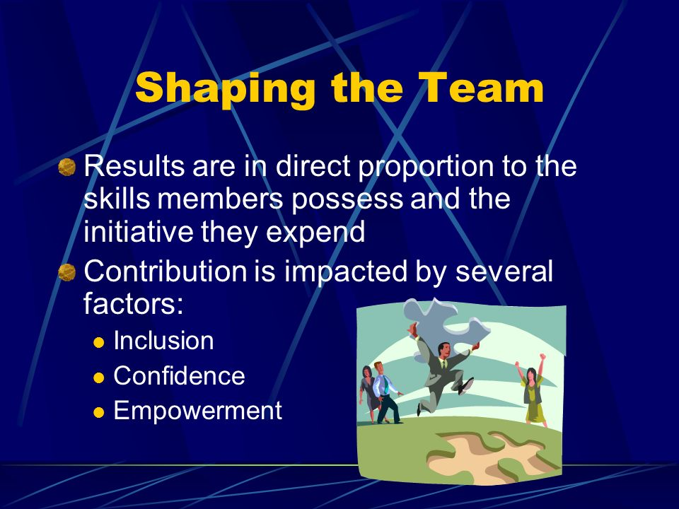 Shaping the Team Results are in direct proportion to the skills members possess and the initiative they expend Contribution is impacted by several factors: Inclusion Confidence Empowerment