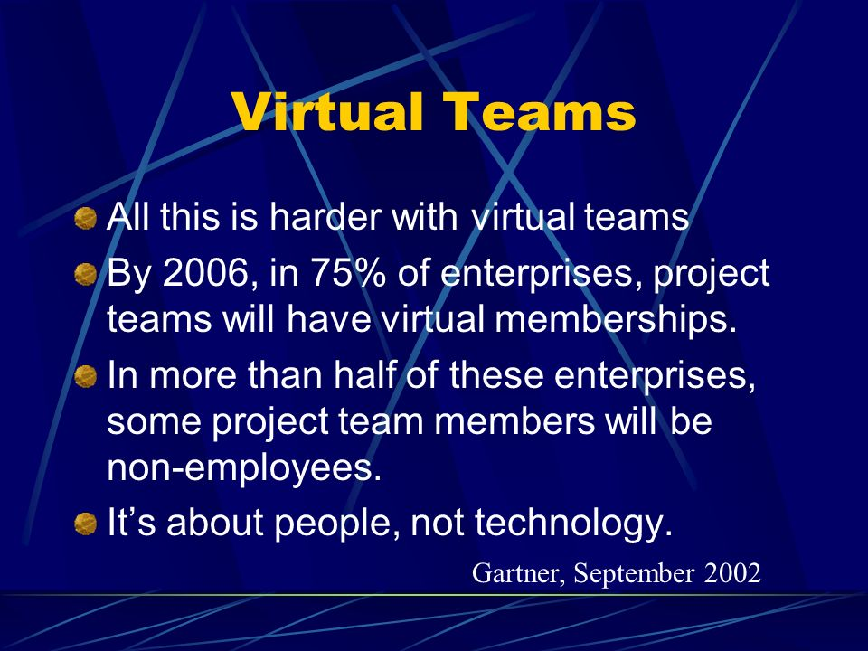 Virtual Teams All this is harder with virtual teams By 2006, in 75% of enterprises, project teams will have virtual memberships.