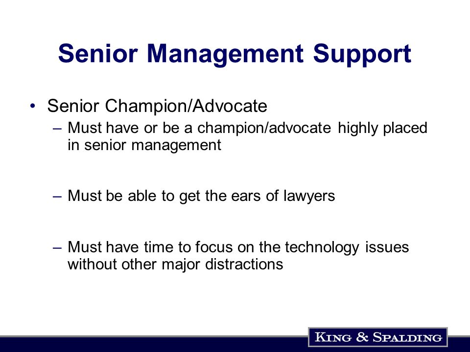 Senior Management Support Senior Champion/Advocate –Must have or be a champion/advocate highly placed in senior management –Must be able to get the ears of lawyers –Must have time to focus on the technology issues without other major distractions