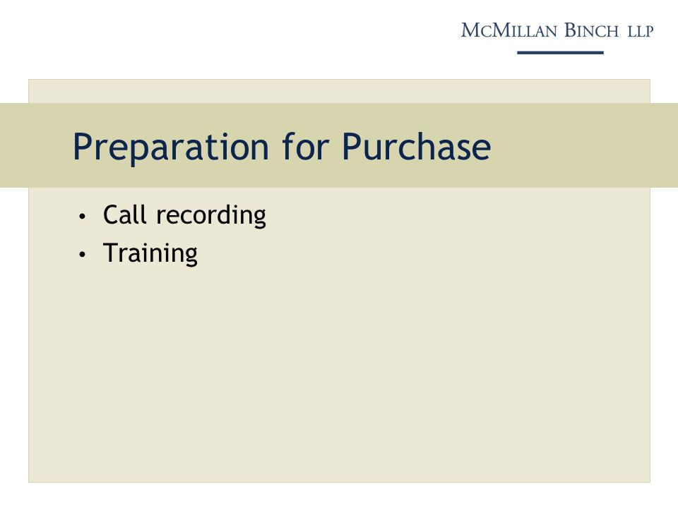 Preparation for Purchase Call recording Training