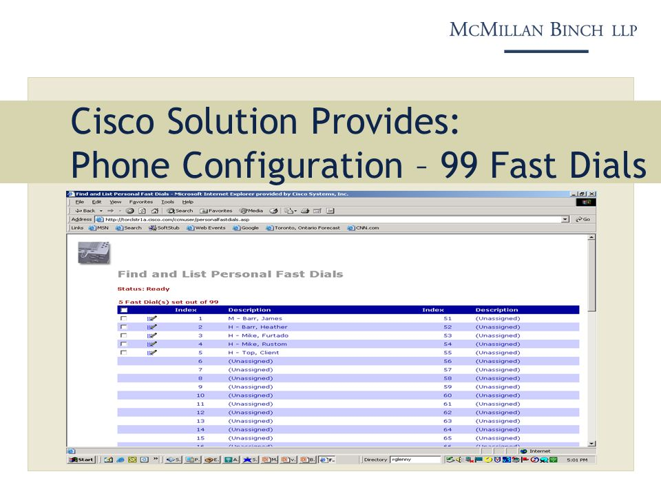 Cisco Solution Provides: Phone Configuration – 99 Fast Dials