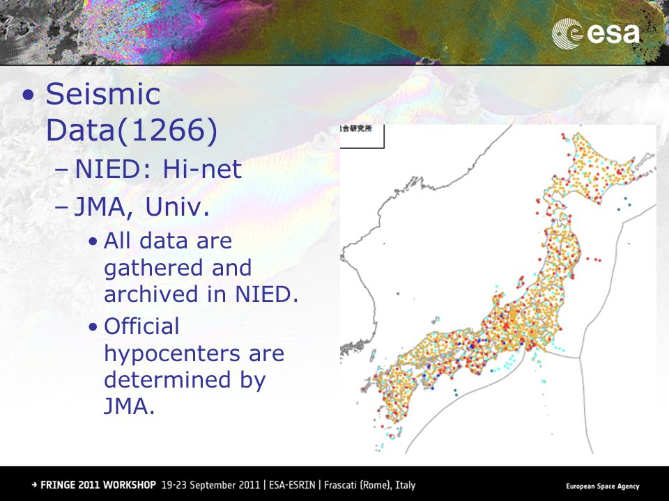 Seismic Data(1266) –NIED: Hi-net –JMA, Univ. All data are gathered and archived in NIED.