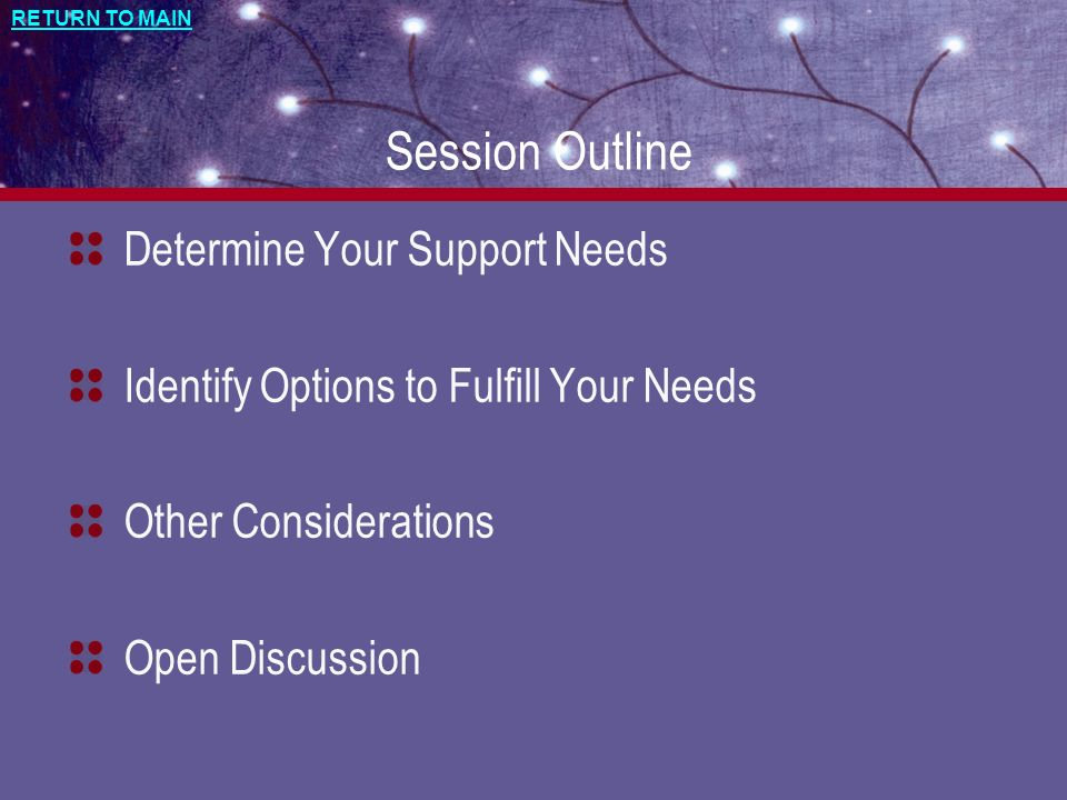 RETURN TO MAIN Session Outline Determine Your Support Needs Identify Options to Fulfill Your Needs Other Considerations Open Discussion