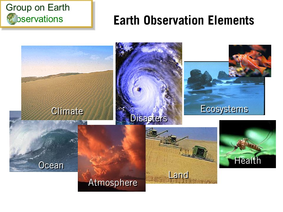Earth Observation Elements Ocean Health Land Ecosystems Disasters Atmosphere Climate Group on Earth bservations Group on Earth bservations