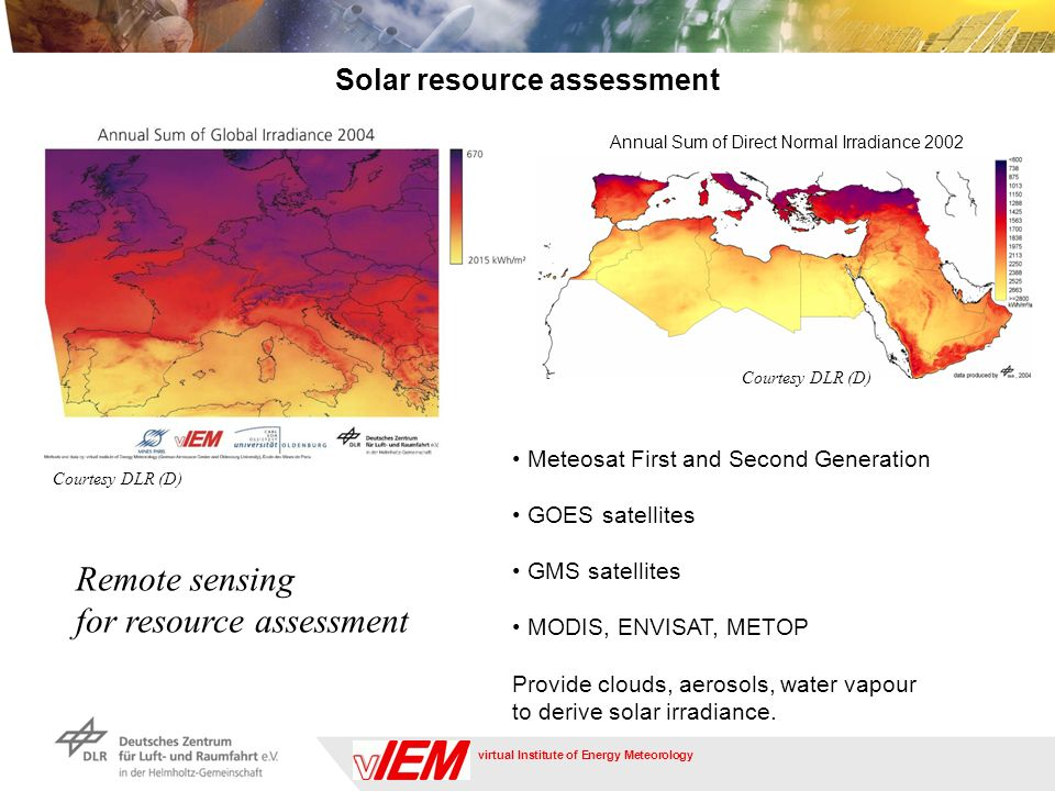 virtual Institute of Energy Meteorology Solar resource assessment Remote sensing for resource assessment Meteosat First and Second Generation GOES satellites GMS satellites MODIS, ENVISAT, METOP Provide clouds, aerosols, water vapour to derive solar irradiance.