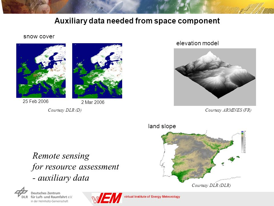 virtual Institute of Energy Meteorology Remote sensing for resource assessment - auxiliary data land slope Courtesy ARMINES (FR) elevation model Courtesy DLR (DLR) snow cover Courtesy DLR (D) 25 Feb 2006 2 Mar 2006 Auxiliary data needed from space component