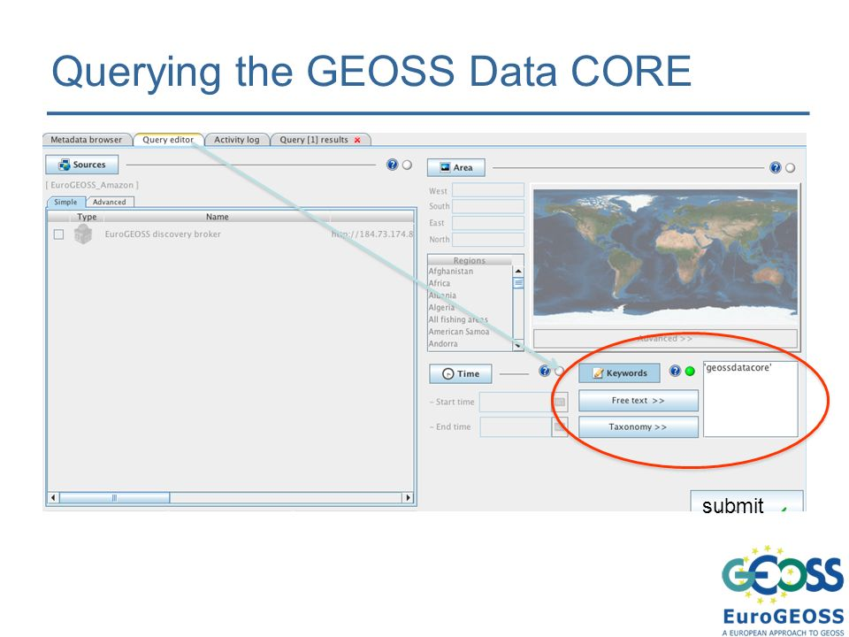 Querying the GEOSS Data CORE submit
