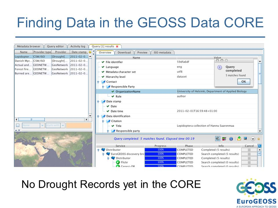 Finding Data in the GEOSS Data CORE No Drought Records yet in the CORE