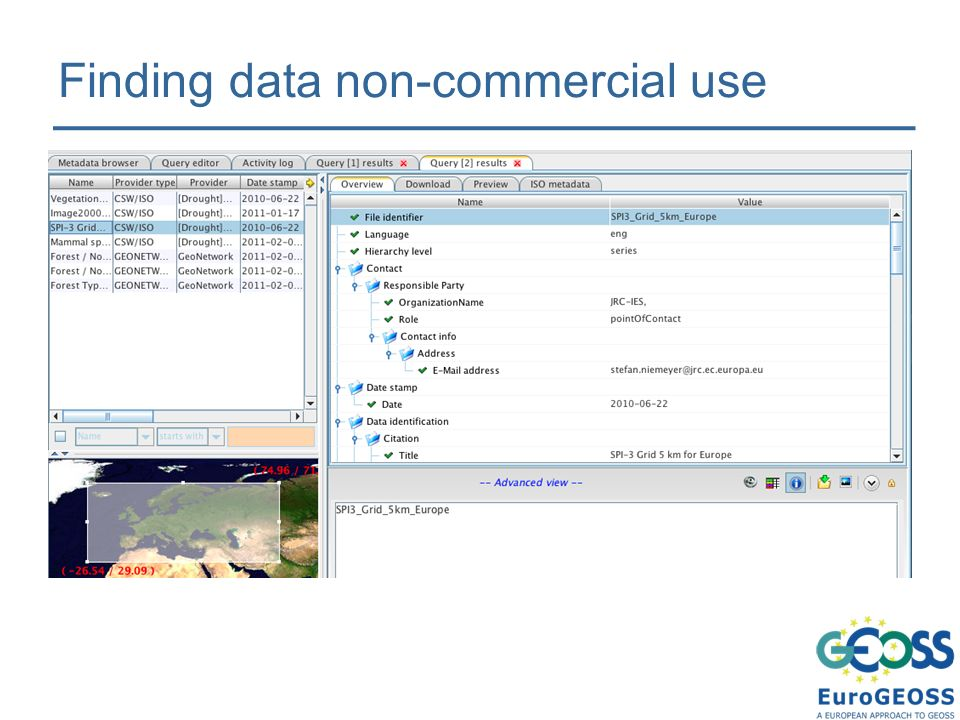 Finding data non-commercial use