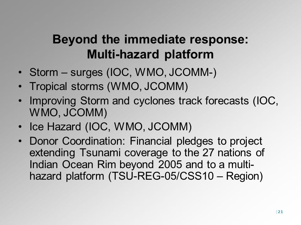 |21 Beyond the immediate response: Multi-hazard platform Storm – surges (IOC, WMO, JCOMM-) Tropical storms (WMO, JCOMM) Improving Storm and cyclones track forecasts (IOC, WMO, JCOMM) Ice Hazard (IOC, WMO, JCOMM) Donor Coordination: Financial pledges to project extending Tsunami coverage to the 27 nations of Indian Ocean Rim beyond 2005 and to a multi- hazard platform (TSU-REG-05/CSS10 – Region)
