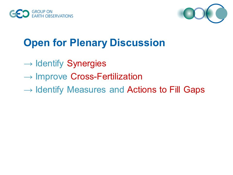 Open for Plenary Discussion Identify Synergies Improve Cross-Fertilization Identify Measures and Actions to Fill Gaps