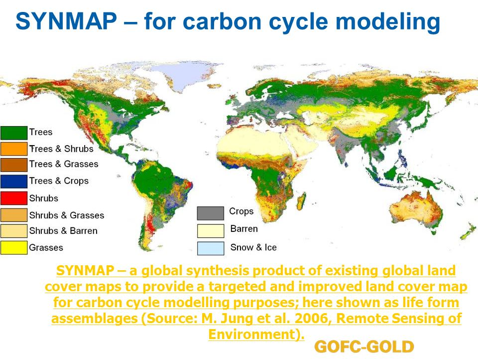 SYNMAP – for carbon cycle modeling SYNMAP – a global synthesis product of existing global land cover maps to provide a targeted and improved land cover map for carbon cycle modelling purposes; here shown as life form assemblages (Source: M.
