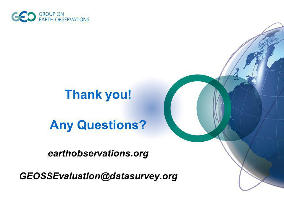 Thank you! Any Questions earthobservations.org GEOSSEvaluation@datasurvey.org