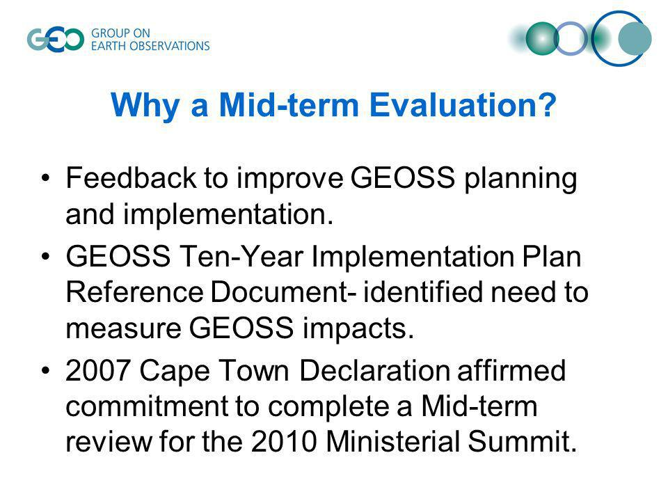 Why a Mid-term Evaluation. Feedback to improve GEOSS planning and implementation.