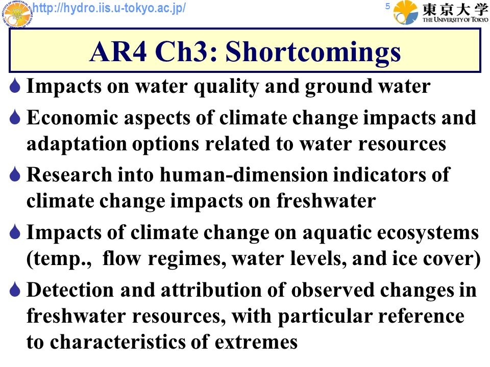 http://hydro.iis.u-tokyo.ac.jp/ AR4 Ch3: Shortcomings Impacts on water quality and ground water Economic aspects of climate change impacts and adaptation options related to water resources Research into human-dimension indicators of climate change impacts on freshwater Impacts of climate change on aquatic ecosystems (temp., flow regimes, water levels, and ice cover) Detection and attribution of observed changes in freshwater resources, with particular reference to characteristics of extremes 5