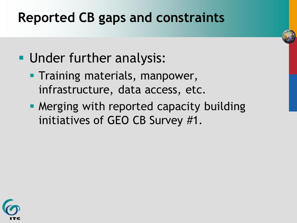 Reported CB gaps and constraints Under further analysis: Training materials, manpower, infrastructure, data access, etc.