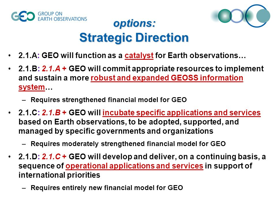options: Strategic Direction 2.1.A: GEO will function as a catalyst for Earth observations… 2.1.B: 2.1.A + GEO will commit appropriate resources to implement and sustain a more robust and expanded GEOSS information system… –Requires strengthened financial model for GEO 2.1.C: 2.1.B + GEO will incubate specific applications and services based on Earth observations, to be adopted, supported, and managed by specific governments and organizations –Requires moderately strengthened financial model for GEO 2.1.D: 2.1.C + GEO will develop and deliver, on a continuing basis, a sequence of operational applications and services in support of international priorities –Requires entirely new financial model for GEO