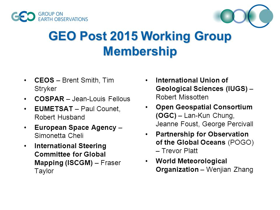 GEO Post 2015 Working Group Membership CEOS – Brent Smith, Tim Stryker COSPAR – Jean-Louis Fellous EUMETSAT – Paul Counet, Robert Husband European Space Agency – Simonetta Cheli International Steering Committee for Global Mapping (ISCGM) – Fraser Taylor International Union of Geological Sciences (IUGS) – Robert Missotten Open Geospatial Consortium (OGC) – Lan-Kun Chung, Jeanne Foust, George Percivall Partnership for Observation of the Global Oceans (POGO) – Trevor Platt World Meteorological Organization – Wenjian Zhang
