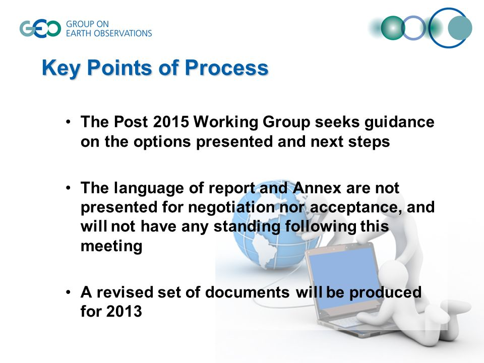Key Points of Process The Post 2015 Working Group seeks guidance on the options presented and next steps The language of report and Annex are not presented for negotiation nor acceptance, and will not have any standing following this meeting A revised set of documents will be produced for 2013