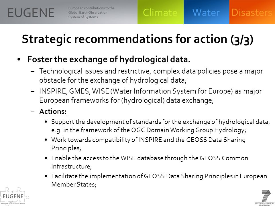 Strategic recommendations for action (3/3) Foster the exchange of hydrological data.