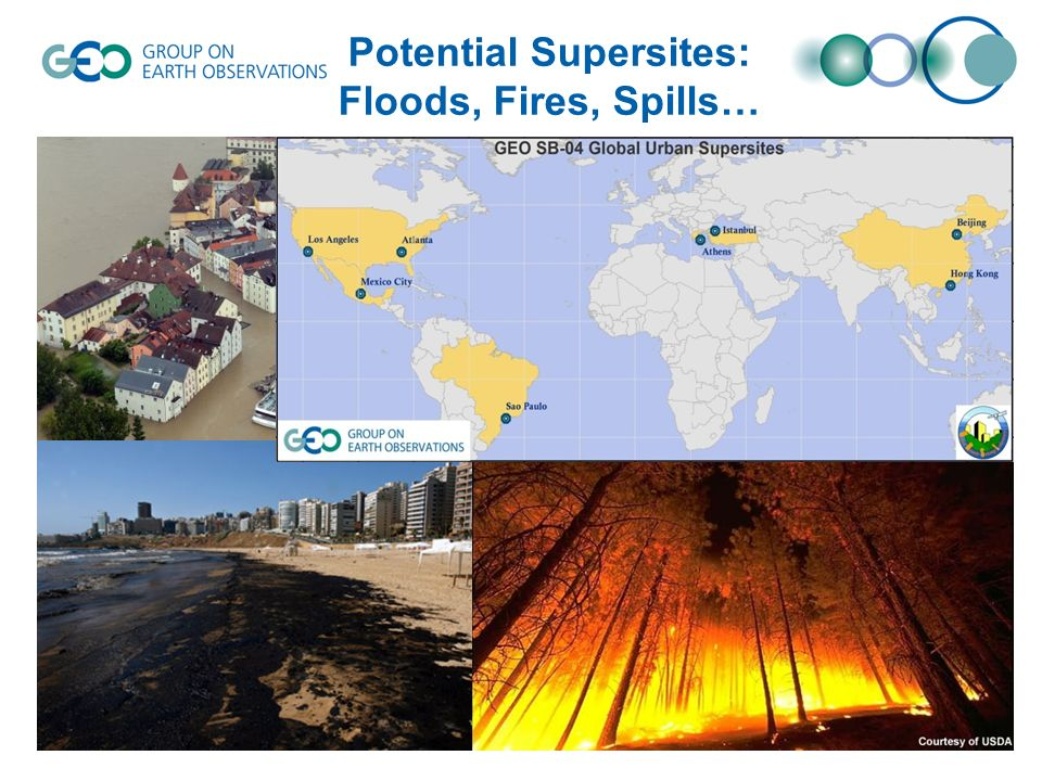 Potential Supersites: Floods, Fires, Spills…