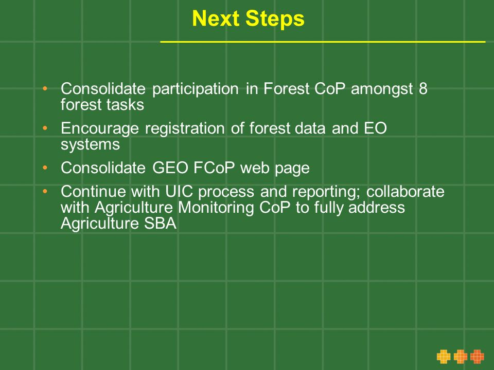 Next Steps Consolidate participation in Forest CoP amongst 8 forest tasks Encourage registration of forest data and EO systems Consolidate GEO FCoP web page Continue with UIC process and reporting; collaborate with Agriculture Monitoring CoP to fully address Agriculture SBA