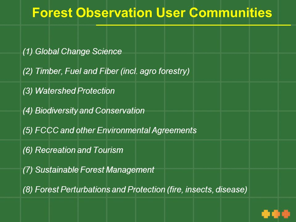 Forest Observation User Communities (1) Global Change Science (2) Timber, Fuel and Fiber (incl.