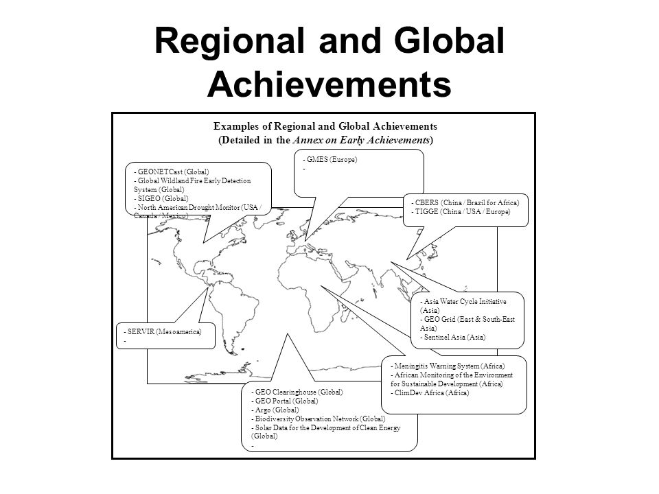 Regional and Global Achievements - GMES (Europe) - - SERVIR (Mesoamerica) - - GEONETCast (Global) - Global Wildland Fire Early Detection System (Global) - SIGEO (Global) - North American Drought Monitor (USA / Canada / Mexico) - CBERS (China / Brazil for Africa) - TIGGE (China / USA / Europe) - GEO Clearinghouse (Global) - GEO Portal (Global) - Argo (Global) - Biodiversity Observation Network (Global) - Solar Data for the Development of Clean Energy (Global) - - Meningitis Warning System (Africa) - African Monitoring of the Environment for Sustainable Development (Africa) - ClimDev Africa (Africa) - Asia Water Cycle Initiative (Asia) - GEO Grid (East & South-East Asia) - Sentinel Asia (Asia) Examples of Regional and Global Achievements (Detailed in the Annex on Early Achievements)