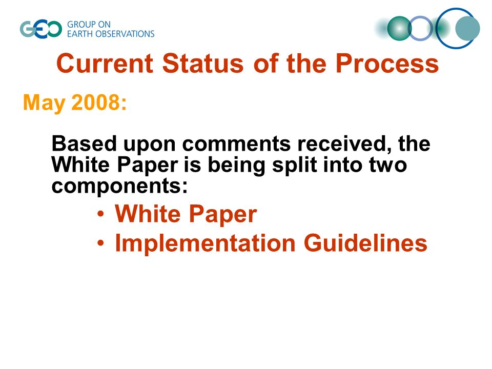 Current Status of the Process May 2008: Based upon comments received, the White Paper is being split into two components: White Paper Implementation Guidelines