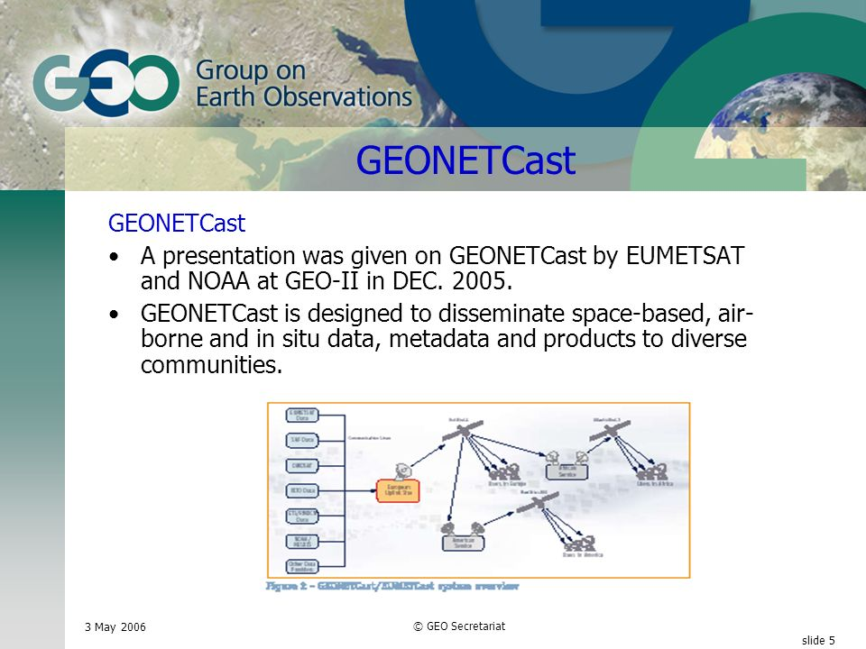 3 May 2006 © GEO Secretariat slide 5 GEONETCast A presentation was given on GEONETCast by EUMETSAT and NOAA at GEO-II in DEC.
