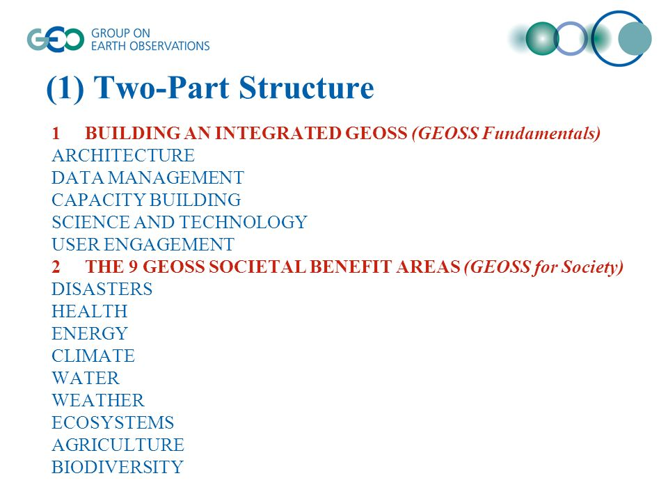 (1) Two-Part Structure 1BUILDING AN INTEGRATED GEOSS (GEOSS Fundamentals) ARCHITECTURE DATA MANAGEMENT CAPACITY BUILDING SCIENCE AND TECHNOLOGY USER ENGAGEMENT 2THE 9 GEOSS SOCIETAL BENEFIT AREAS (GEOSS for Society) DISASTERS HEALTH ENERGY CLIMATE WATER WEATHER ECOSYSTEMS AGRICULTURE BIODIVERSITY
