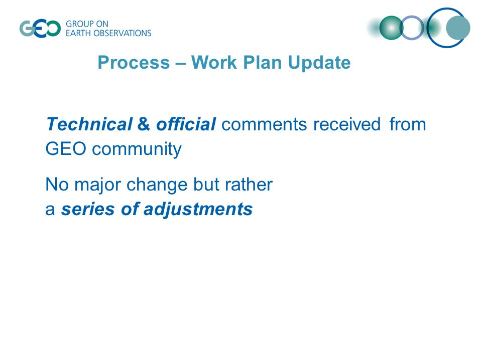 Technical & official comments received from GEO community No major change but rather a series of adjustments Process – Work Plan Update
