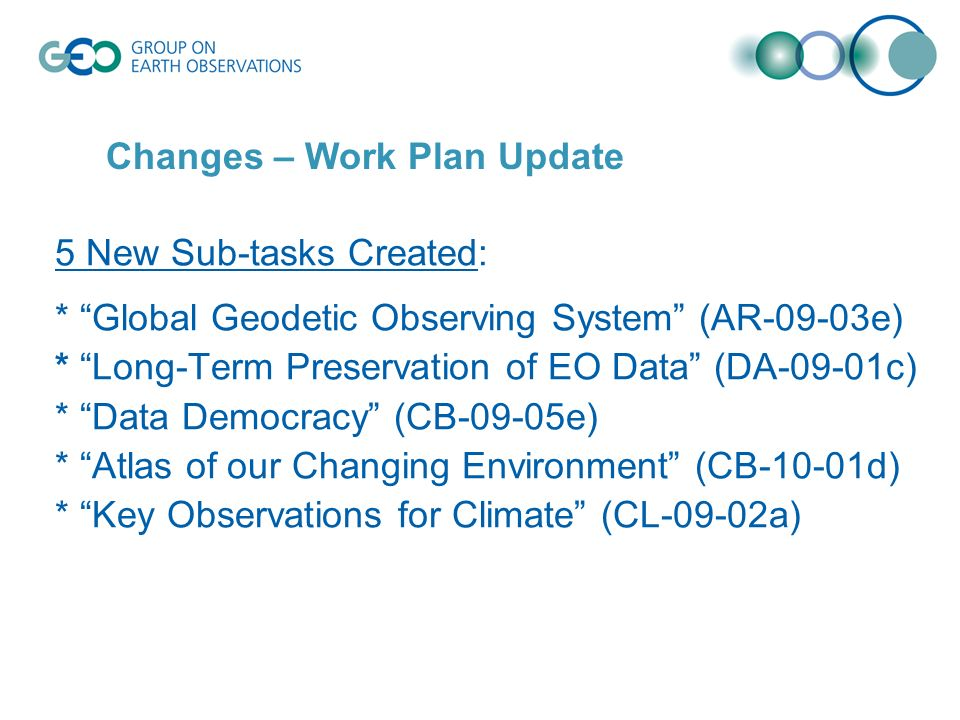 5 New Sub-tasks Created: * Global Geodetic Observing System (AR-09-03e) * Long-Term Preservation of EO Data (DA-09-01c) * Data Democracy (CB-09-05e) * Atlas of our Changing Environment (CB-10-01d) * Key Observations for Climate (CL-09-02a) Changes – Work Plan Update