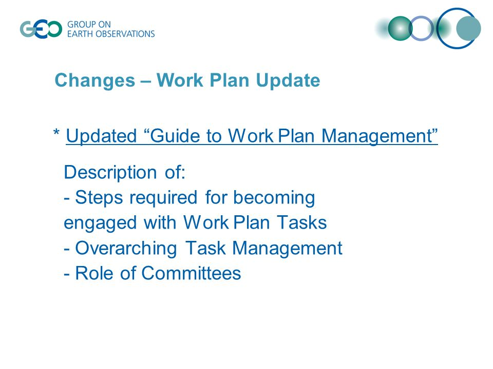 * Updated Guide to Work Plan Management Description of: - Steps required for becoming engaged with Work Plan Tasks - Overarching Task Management - Role of Committees Changes – Work Plan Update