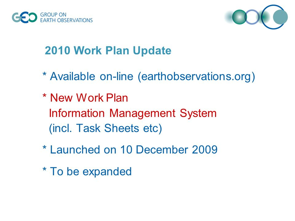 * Available on-line (earthobservations.org) * New Work Plan Information Management System (incl.