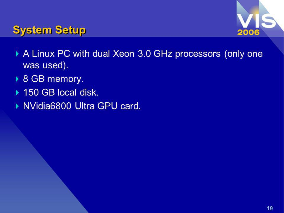 19 System Setup A Linux PC with dual Xeon 3.0 GHz processors (only one was used).