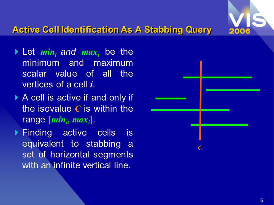 6 Active Cell Identification As A Stabbing Query Let min i and max i be the minimum and maximum scalar value of all the vertices of a cell i.
