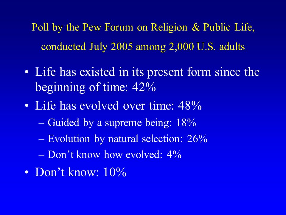 Poll by the Pew Forum on Religion & Public Life, conducted July 2005 among 2,000 U.S.