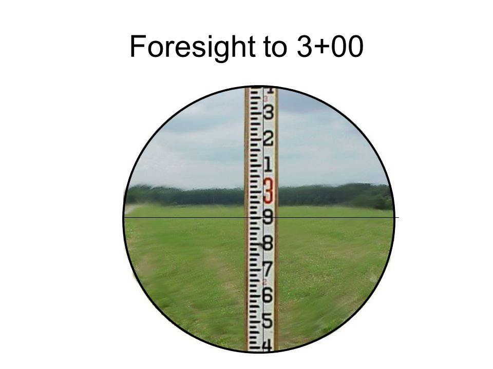 Foresight to 3+00