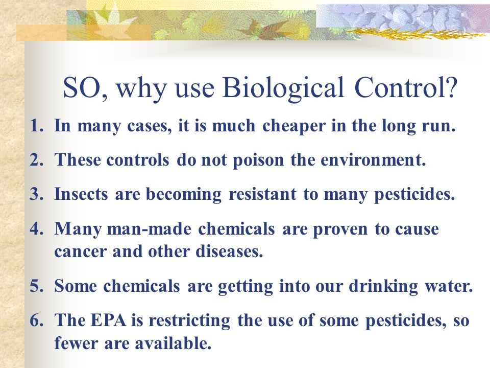 SO, why use Biological Control. 1.In many cases, it is much cheaper in the long run.