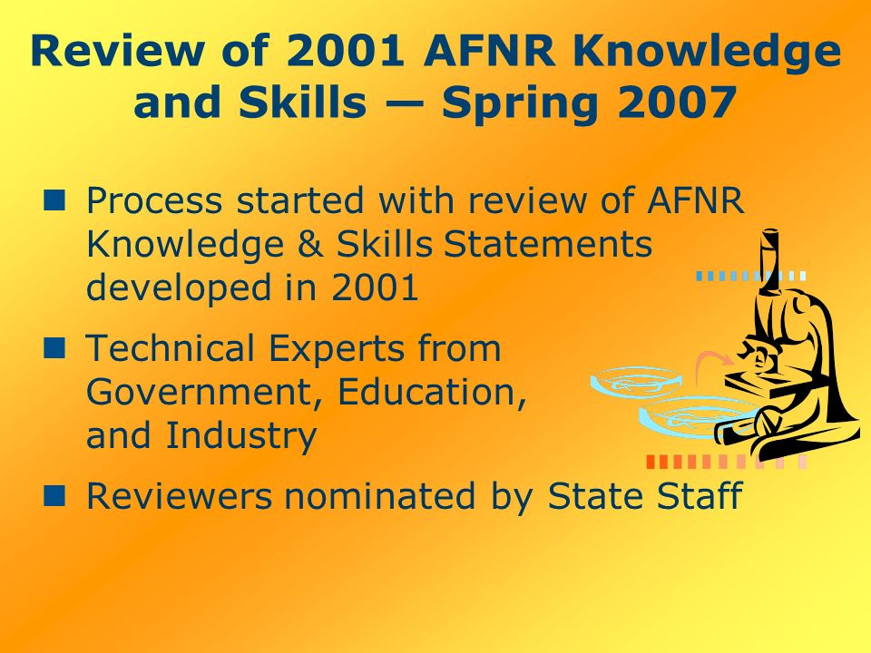 Review of 2001 AFNR Knowledge and Skills Spring 2007 Process started with review of AFNR Knowledge & Skills Statements developed in 2001 Technical Experts from Government, Education, and Industry Reviewers nominated by State Staff