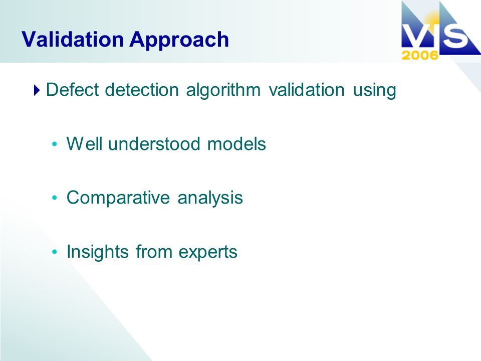 Validation Approach Defect detection algorithm validation using Well understood models Comparative analysis Insights from experts