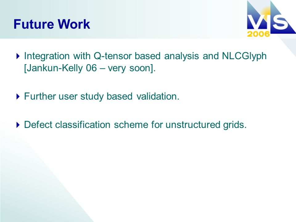 Future Work Integration with Q-tensor based analysis and NLCGlyph [Jankun-Kelly 06 – very soon].