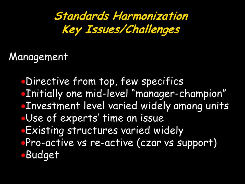 Standards Harmonization Key Issues/Challenges Management Directive from top, few specifics Initially one mid-level manager-champion Investment level varied widely among units Use of experts time an issue Existing structures varied widely Pro-active vs re-active (czar vs support) Budget