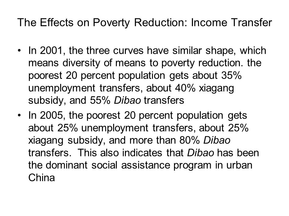 The Effects on Poverty Reduction: Income Transfer In 2001, the three curves have similar shape, which means diversity of means to poverty reduction.