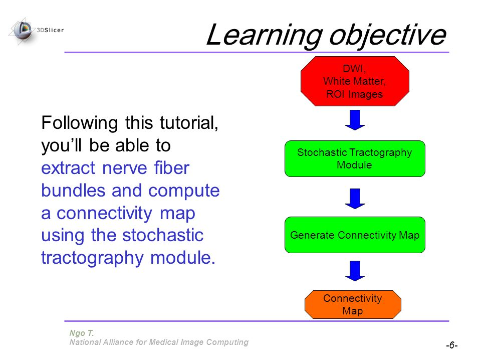 Pujol S, Gollub R -6- National Alliance for Medical Image Computing Learning objective Following this tutorial, youll be able to extract nerve fiber bundles and compute a connectivity map using the stochastic tractography module.