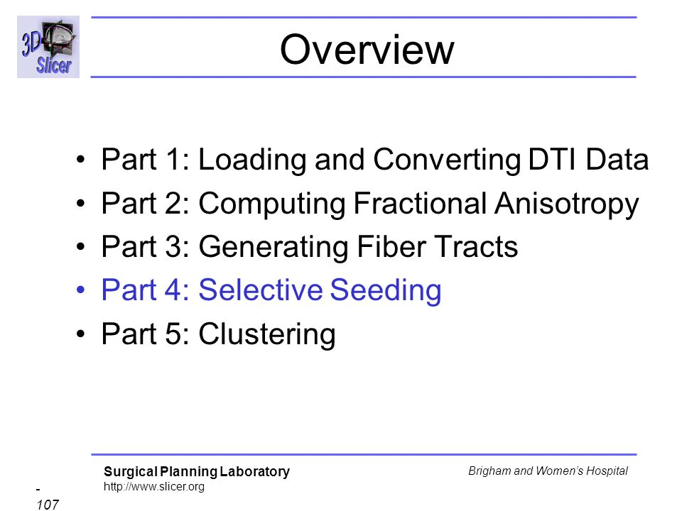Surgical Planning Laboratory http://www.slicer.org - 107 - Brigham and Womens Hospital Overview Part 1: Loading and Converting DTI Data Part 2: Computing Fractional Anisotropy Part 3: Generating Fiber Tracts Part 4: Selective Seeding Part 5: Clustering