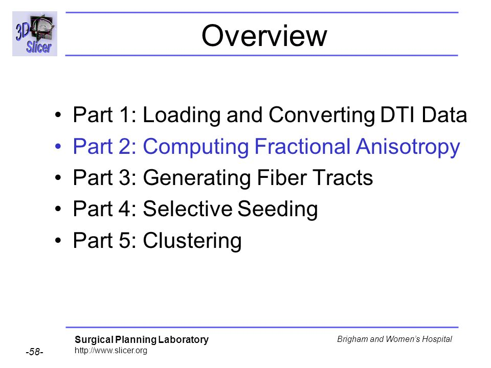 Surgical Planning Laboratory http://www.slicer.org -58- Brigham and Womens Hospital Overview Part 1: Loading and Converting DTI Data Part 2: Computing Fractional Anisotropy Part 3: Generating Fiber Tracts Part 4: Selective Seeding Part 5: Clustering