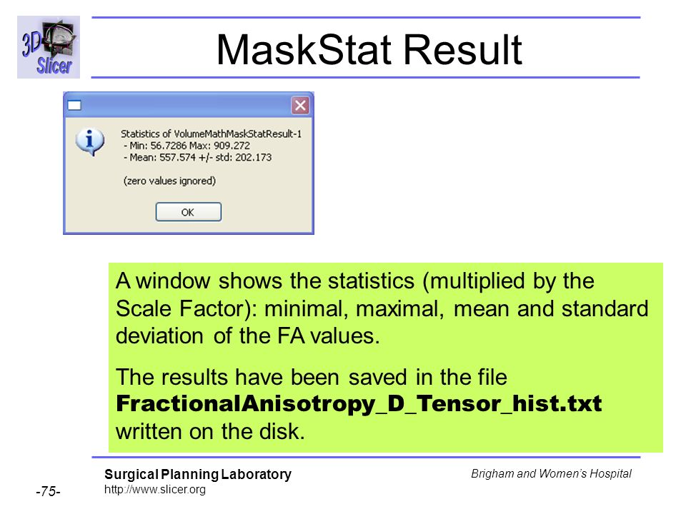 Surgical Planning Laboratory http://www.slicer.org -75- Brigham and Womens Hospital MaskStat Result A window shows the statistics (multiplied by the Scale Factor): minimal, maximal, mean and standard deviation of the FA values.